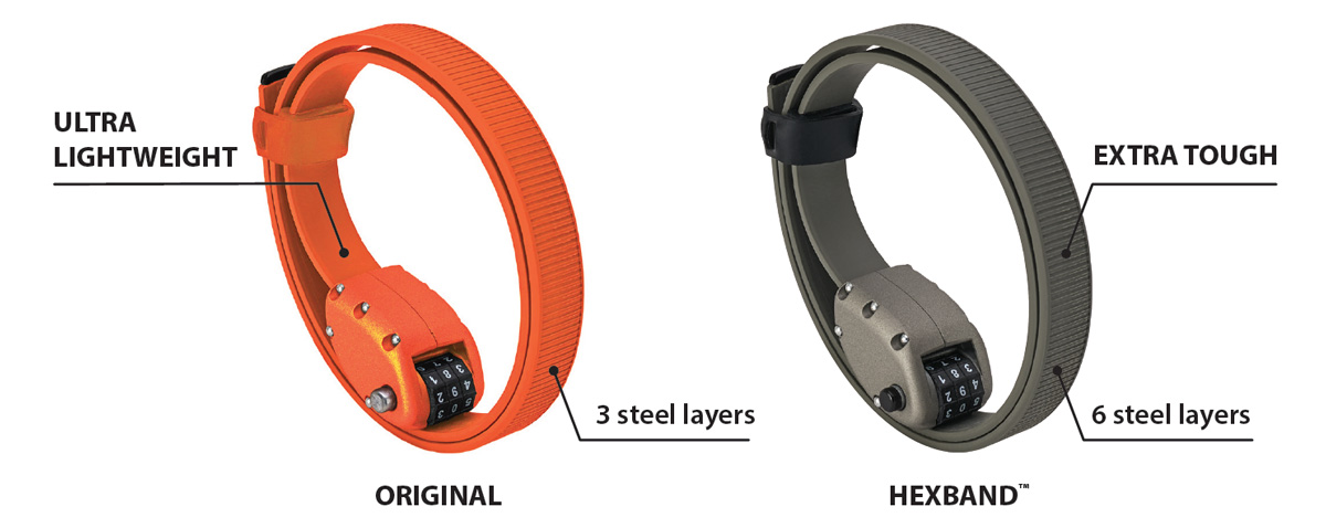 Comparison of original OTTOLOCK Bike Lock and OTTOLOCK HEXBAND Extra tough bike lock